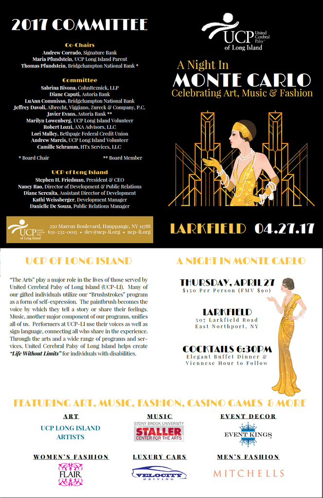 "Stephanie Occhipinti Design will be featured as exclusive auction items at UCP of Long Island's ""A Night in Monte Carlo: Celebrating Art, Music & Fashion"" on Thursday, April 27, 2017 at the Larkfield"