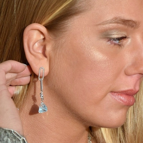 Blue Cascade Link Earrings (exclusively-ours)