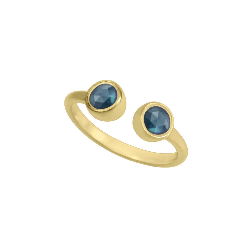 Fun and fashionable, this bezel set two stone ring is delicate on its own and trendy when stacked in multiples, handcrafted in 7 color options 1. Polished silver with two Blue Quartz stones 2. Polished silver with Blue Quartz and Labradorite stones 3. Yellow gold with two Blue Topaz stones 4. Yellow gold with Blue Topaz and Labradorite stones 5. Yellow gold with two Labradorite stones 6. Rose gold with two Rainbow Moon stones 7. Rose gold with two Rhodolite Garnet stones 8. Rose gold with Rhodolite Garnet a