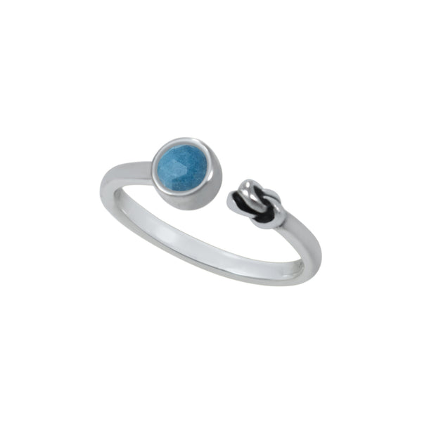 A single gemstone paired with a small, hand-carved knot represents your inner strength. It is beautiful when worn on its own but also can be stacked with different colors for a stunning, personalized style. Handcrafted  Available in: 6 distinct colors choices  1. Antique silver with Blue Quartz stone 2. Antique silver with Labradorite stone 3. Yellow gold with Blue Topaz stone 4. Yellow gold with Labradorite stone 5. Rose gold with Rainbow Moon stone 6. Rose gold with Rhodolite Garnet stone