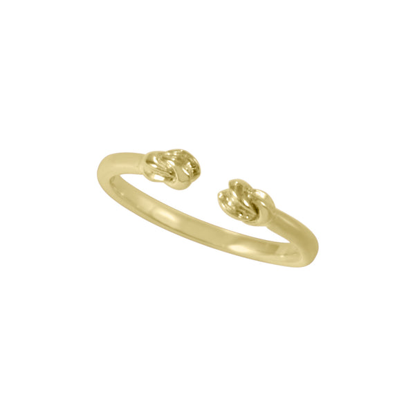 This double hand-carved knot ring represents your inner strength. It's sweet on its own and fun and flirty stacked in multiples. It's adjustable for any finger, even cute on a toe. Handcrafted  Available in: Antique silver, yellow gold, rose gold and white rhodium