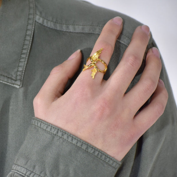 Soaring Swallow Ring in Yellow gold finish