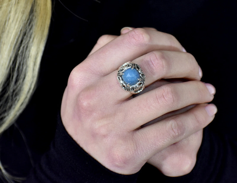 Winged Halo Ring with Blue Quartz stone and Antiqued Silver finish