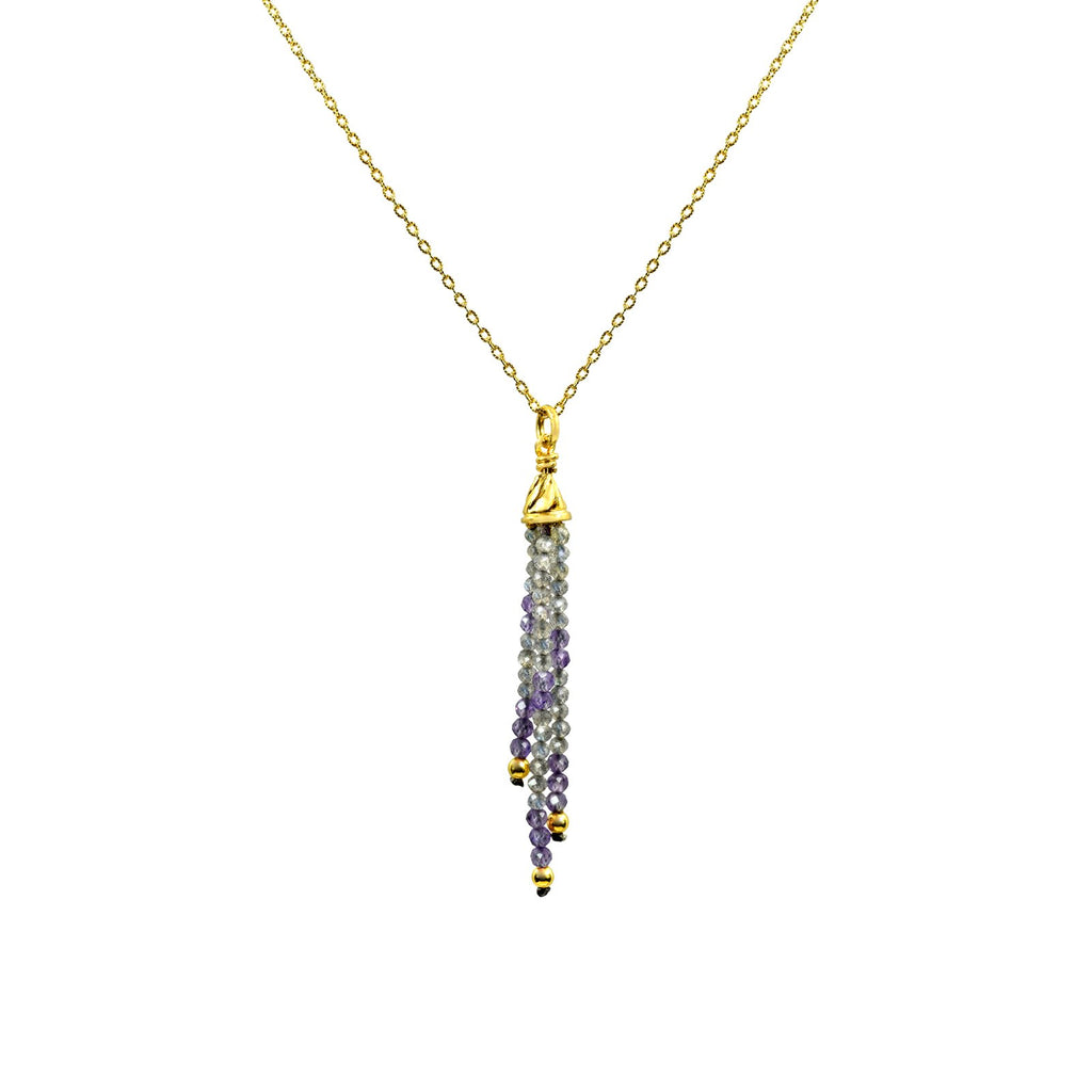 Petite Shades of Calm Tassel Pendant in Yellow gold vermeil and Labradorite
