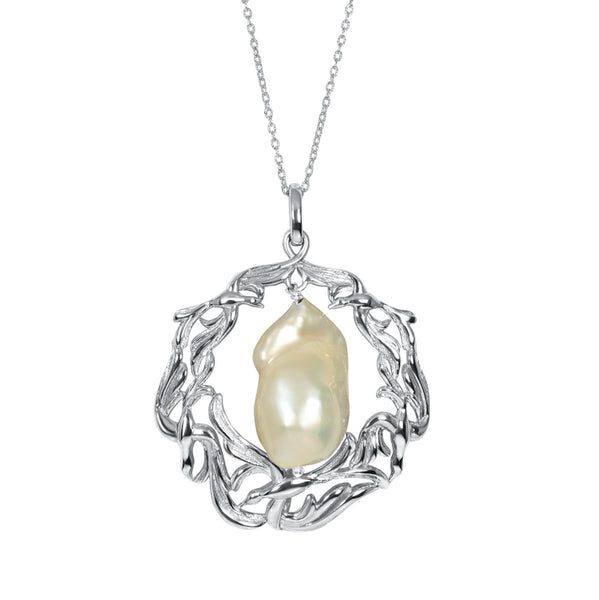Wings of Lace Baroque Pearl Pendant