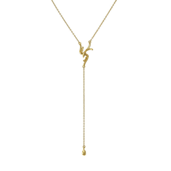 Soaring Lariat Necklace in Yellow Gold finish