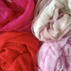 Cashmere scarf pink, red, dusty rose