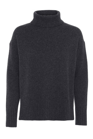 Marilyn - cashmere sweater med turtleneck - Koksgrå
