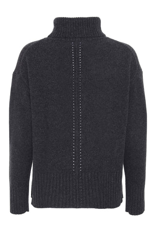 Marilyn - cashmere sweater med turtleneck - Mørk Koksgrå