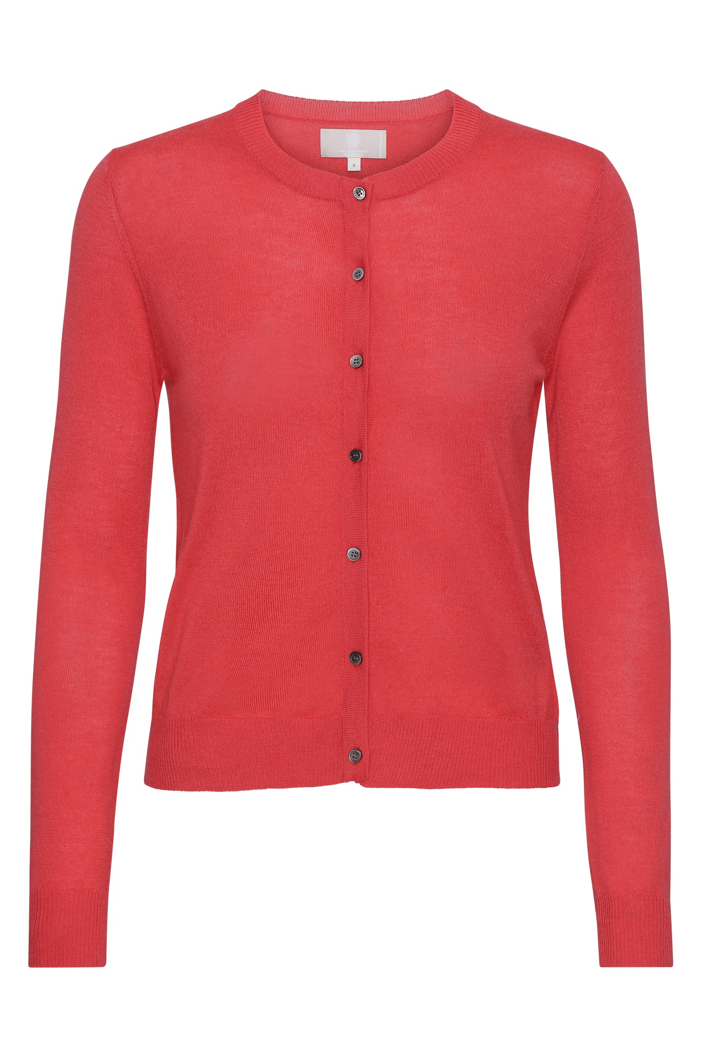 Betty - tynd og let classic cashmere cardigan - Hot Coral