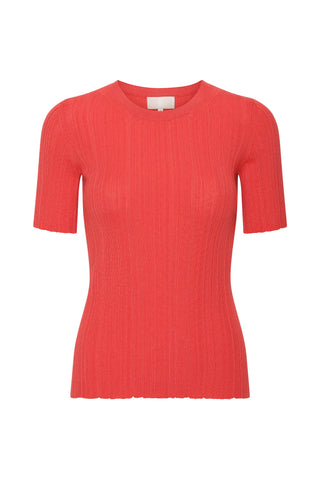 Lea - Cashmere Tee - Hot Coral