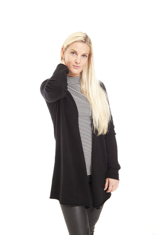Cardigan i 100% cashmere strik, sort.