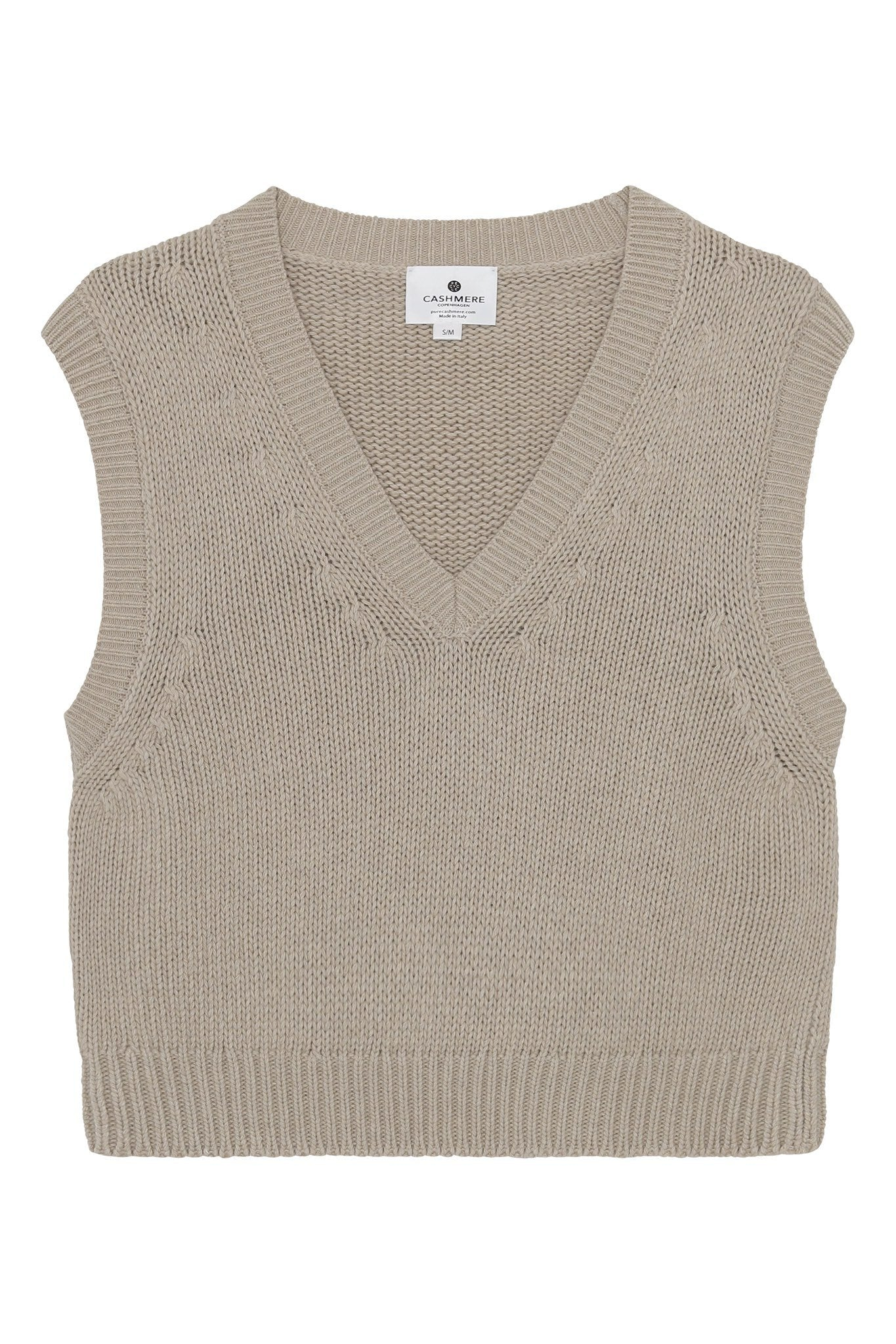 Ragna - chunky strikvest i recycle cashmere - Beige