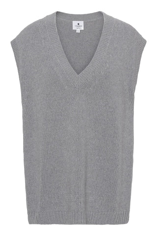 Greta - chunky oversize vest i recycle cashmere - Lysegrå