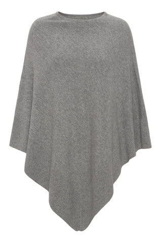 Chloe - cashmere poncho, classic style - Mellemgrå