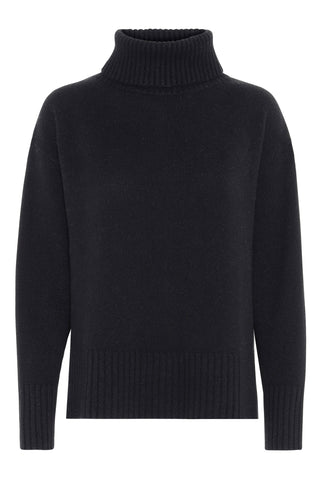 Marilyn - cashmere sweater med turtleneck - Sort