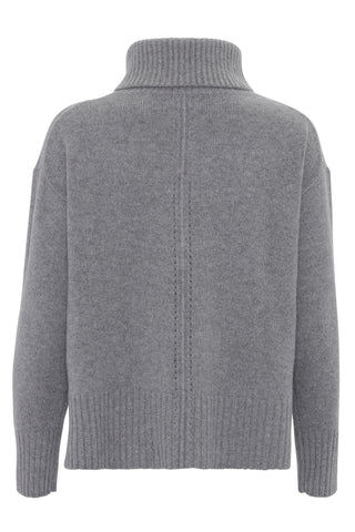 Marilyn - cashmere sweater med turtleneck - Varm Grå