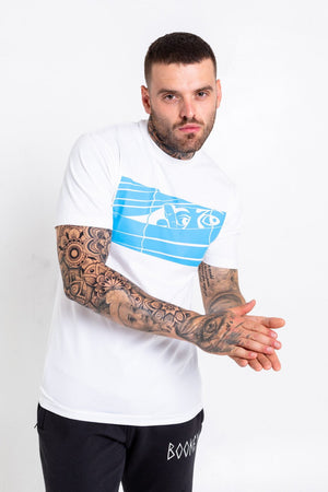 Blue Logo Bookey Classic T-Shirt - White - Bookey Clothing - Streetwear