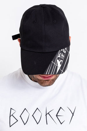 Black Bookey illustrated Peak Cap - Bookey Clothing - Streetwear