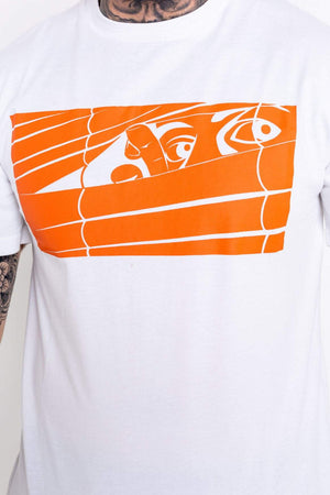 Orange Logo Bookey Classic T-Shirt - White - Bookey Clothing - Streetwear