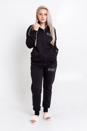 Black Bookey Classic Jog Pants - Womens Fit - Bookey Clothing - Streetwear