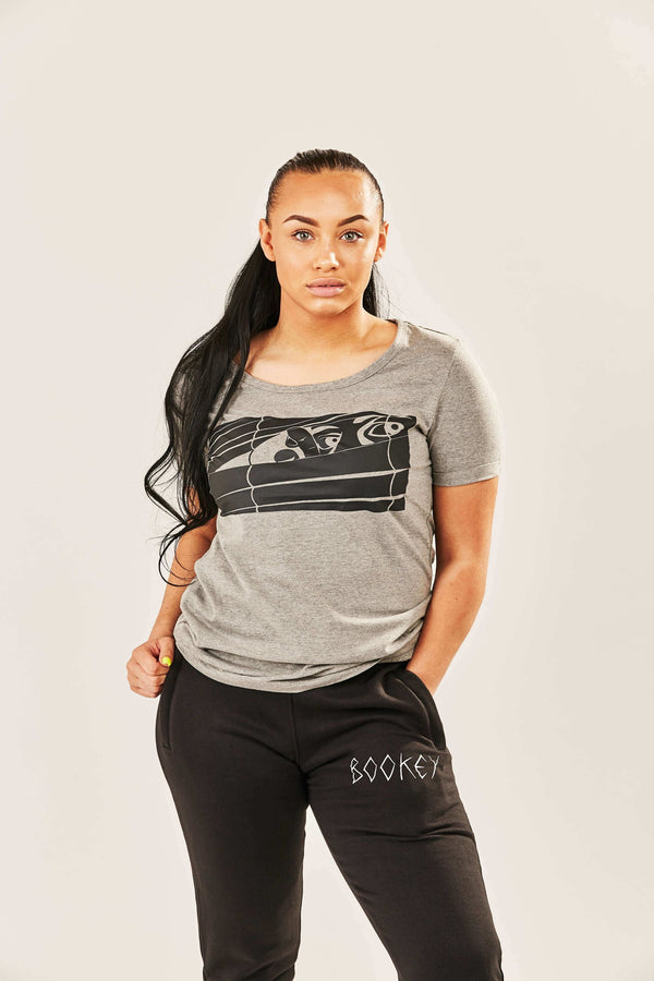 Black Logo Bookey Classic T-Shirt - Grey Womens Fit - Bookey Clothing - Streetwear