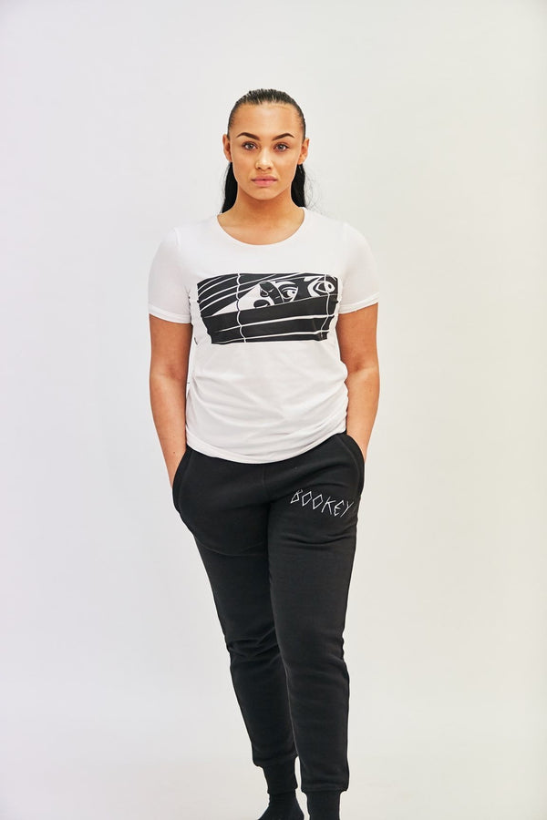 Black Logo Bookey Classic T-Shirt - White Womens Fit - Bookey Clothing - Streetwear