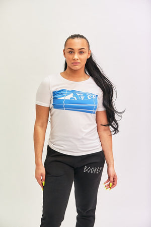 Blue Logo Bookey Classic T-Shirt - White Womens Fit - Bookey Clothing - Streetwear