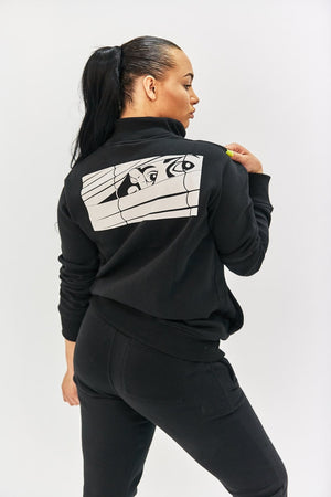 Black Bookey Classic Sweat Jacket with Zip Womens Fit - Bookey Clothing - Streetwear