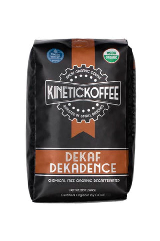 Kinetic Koffee Dekaf Dekadence. Organic decaffeinated coffee brewed with Swiss water process.