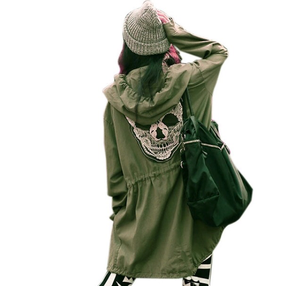 Army Green Skull Coat