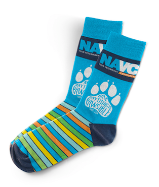 "NAVC Socks -""Blue Anything is Pawsible"""