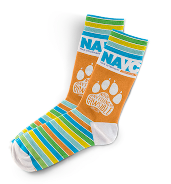 "NAVC Socks -""Orange Anything is Pawsible"""