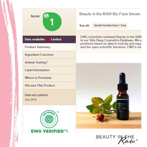 Environmental Working Group EWG scores ranks Bio Face Serum by BEAUTY IN THE Raw a 1 which is the safest rating