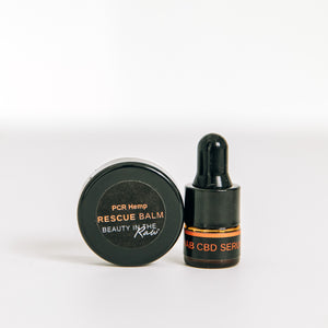 Mini CBD Skincare Discovery Set with Rehab CBD Serum and CBD-infused Rescue Balm trial sizes