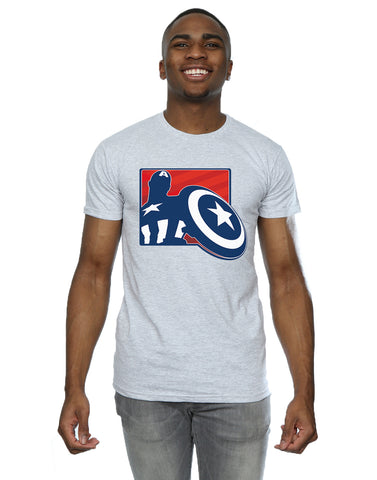 Marvel Men's Avengers Captain America Outline T-Shirt Front Image