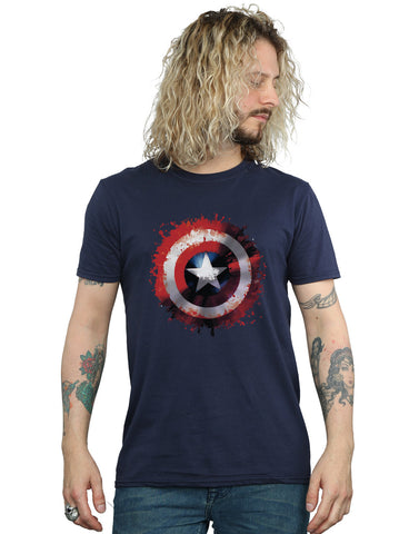 Marvel Men's Avengers Captain America Art Shield T-Shirt Front Image