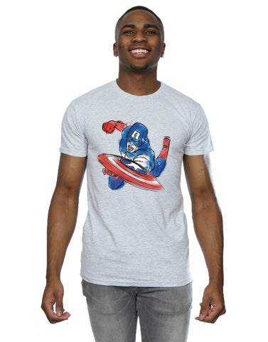 Marvel Men's Avengers Captain America Spray T-Shirt Front Image
