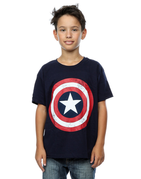 Marvel Boys Captain America Distressed Shield T-Shirt