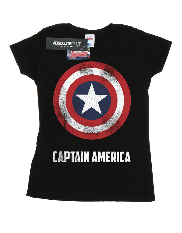 Marvel Women's Captain America Shield Text T-Shirt | Absolute Cult