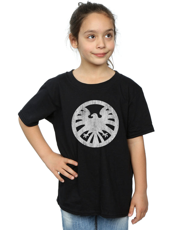 Marvel Girls Agents of S.H.I.E.L.D. Distressed Logo T-Shirt Black 7-8 Years Front Image