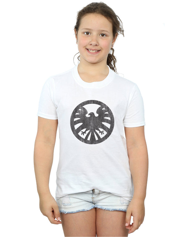 Marvel Girls Agents of S.H.I.E.L.D. Distressed Logo T-Shirt White 7-8 Years Front Image