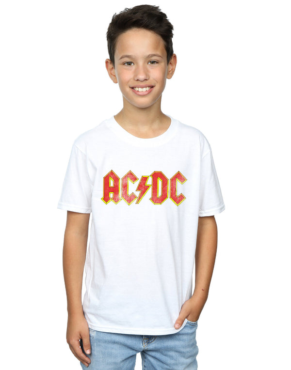 AC/DC Boys Distressed Red Logo T-Shirt - Absolute Cult