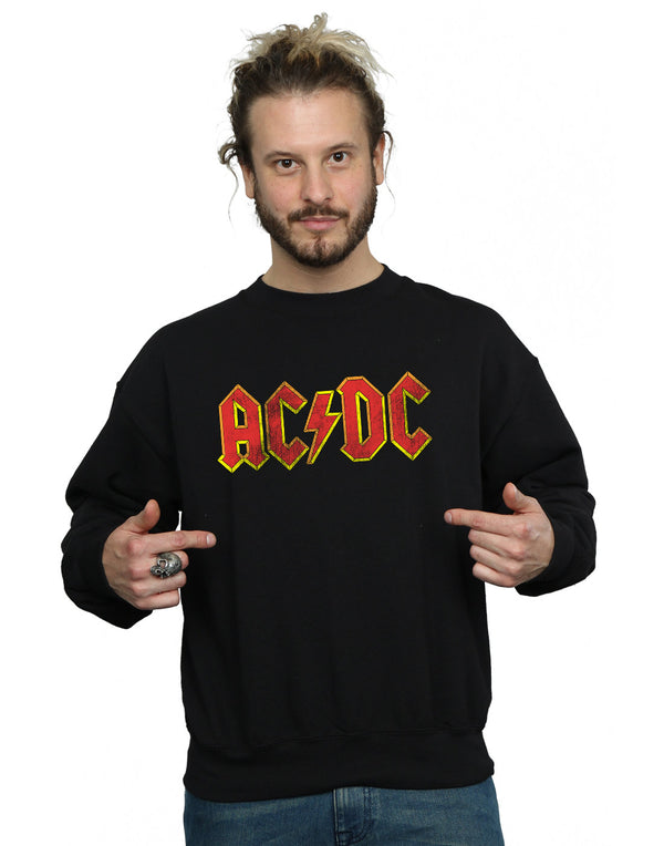 AC/DC Men's Distressed Red Logo Sweatshirt | Absolute Cult