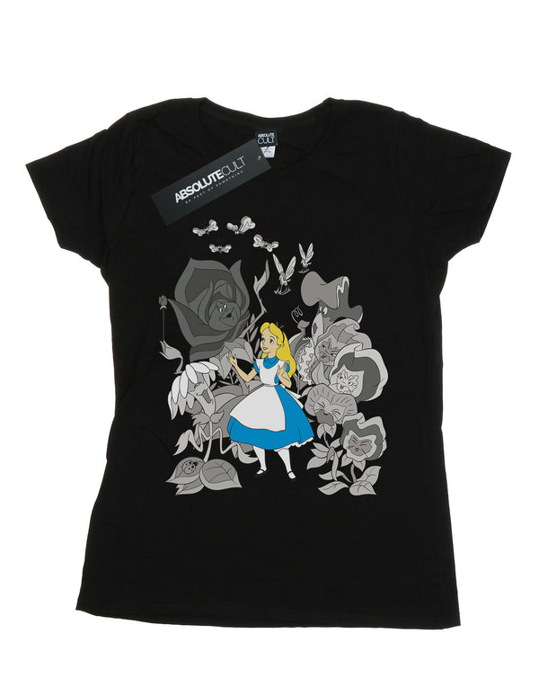 Disney Women's Alice In Wonderland Flowers Boyfriend Fit T-Shirt | Absolute Cult