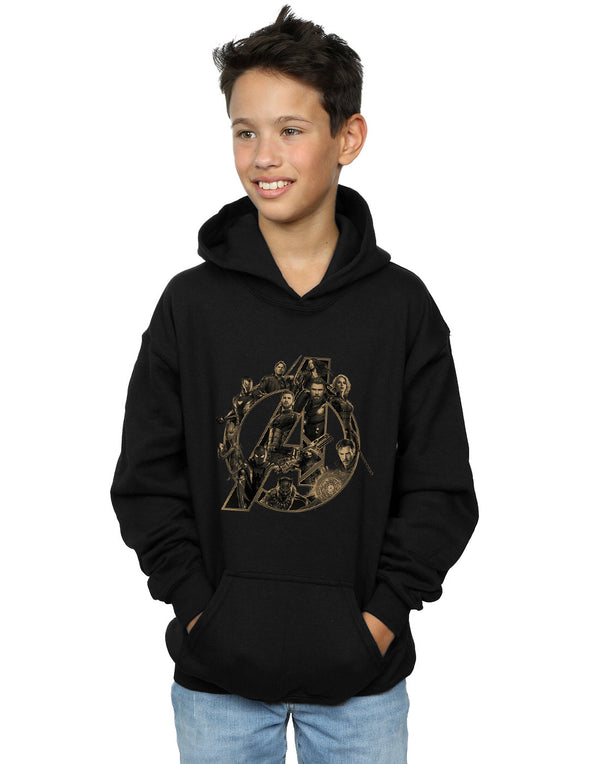 Marvel Boys Avengers Infinity War Marvel Logo Hoodie | Absolute Cult