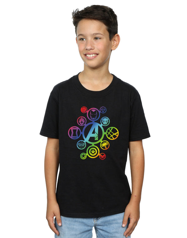 Marvel Boys Avengers Infinity War Rainbow Icons T-Shirt | Absolute Cult