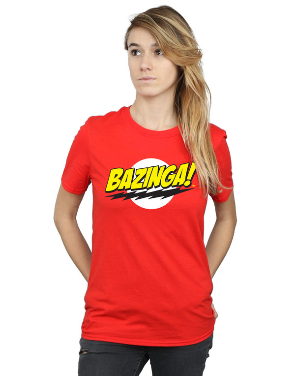 The Big Bang Theory Women's Sheldon Bazinga Boyfriend Fit T-Shirt