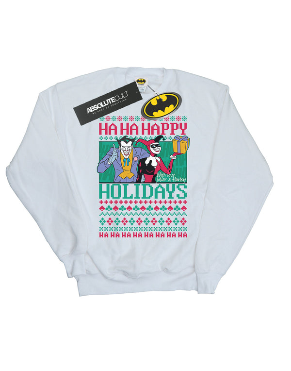 DC Comics Boys Joker And Harley Quinn Ha Ha Happy Holidays Sweatshirt