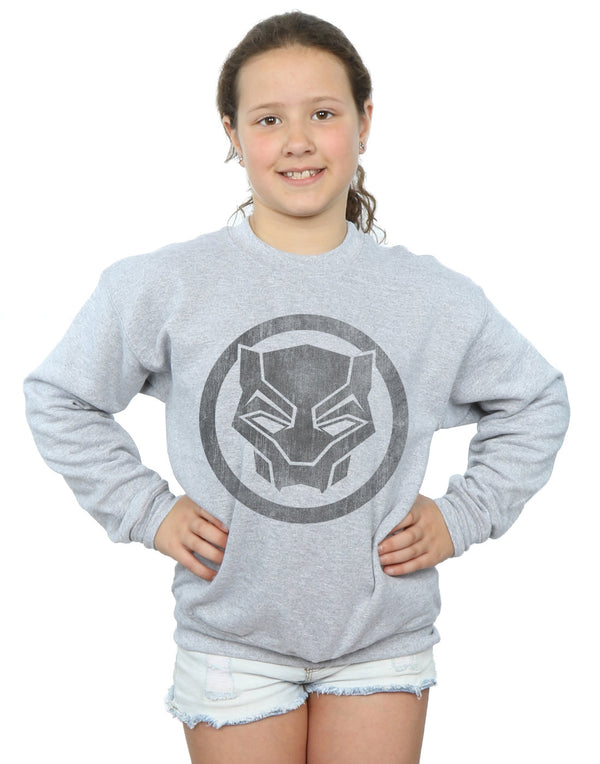 Marvel Girls Black Panther Distressed Icon Sweatshirt